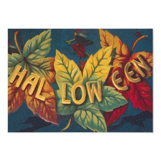 Halloween Colored Leaf Leaves Witch Bat 13 Cm X 18 Cm Invitation Card