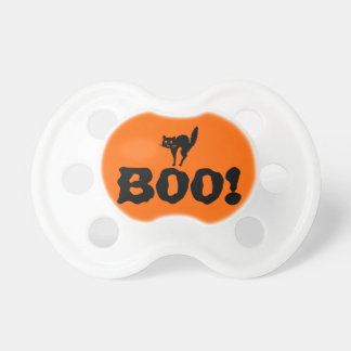 Halloween Cute Boo! with Black Cat Baby Pacifiers