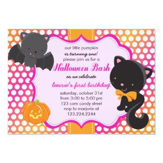 Halloween First Birthday Little Bat, Cat & Pumpkin 13 Cm X 18 Cm Invitation Card