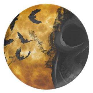 Halloween night party plates