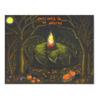 Halloween,party,invitations,bonfire,witches 11 Cm X 14 Cm Invitation Card