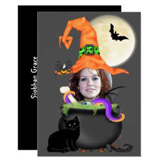 Halloween Party Witch Template 13 Cm X 18 Cm Invitation Card