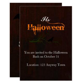 Halloween Raven Branch 9 Cm X 13 Cm Invitation Card