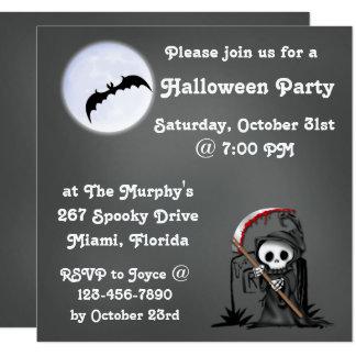 Halloween Reaper Moon Bat Tombstone 13 Cm X 13 Cm Square Invitation Card
