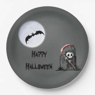 Halloween Reaper Moon Bat Tombstone 9 Inch Paper Plate