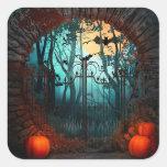Halloween Scary Scene (2) - Customise Square Sticker