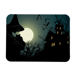 Halloween: witch and hounted house rectangular photo magnet