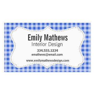 Han Blue Gingham; Checkered Pack Of Standard Business Cards