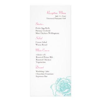 Hand drawn rose reception menu turquoise custom rack cards
