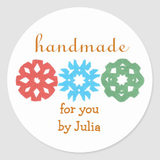 """Handmade"" holiday gift label Round Sticker"