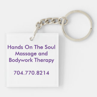 Hands On The Soul Tagline Keyring Double-Sided Square Acrylic Key Ring