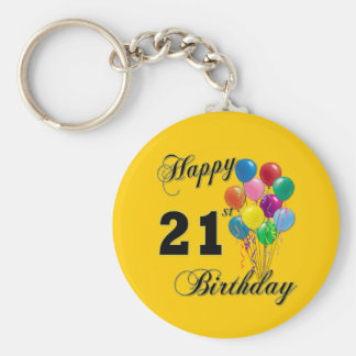 Happy 21st Birthday with Balloons Basic Round Button Key Ring