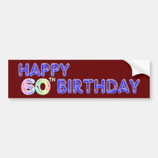 Happy 60th Birthday Gifts in Balloon Font Bumper Sticker