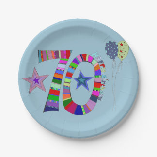 Happy 70th Birthday Colorful Balloons C 7 Inch Paper Plate