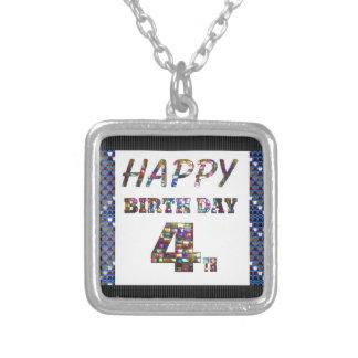 Happy Birthday 4th Text Square Pendant Necklace
