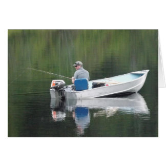 Happy Birthday Father-in-Law Fishing Boat on Lake Greeting Card