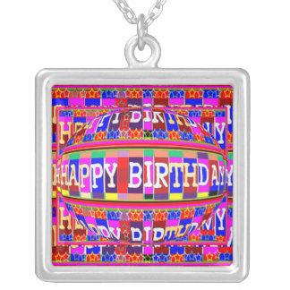Happy Birthday Jewel Square Pendant Necklace