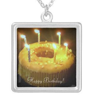 Happy Birthday! txt birthday candles Square Pendant Necklace
