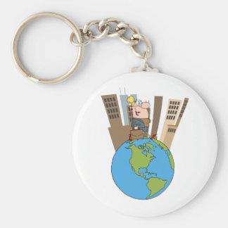Happy Business Woman Walking Around Globe Basic Round Button Key Ring
