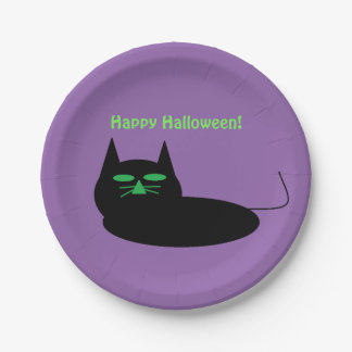 Happy Halloween Cat 7 Inch Paper Plate