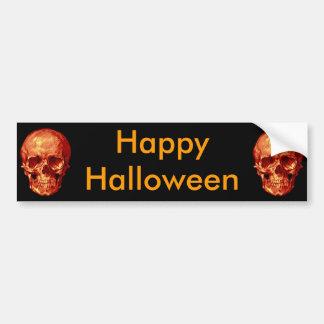 Happy Halloween Red Skulls Bumper Sticker