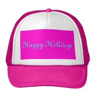 """Happy Holidays"" Merry Xmas Pink Retro-Style Cap"