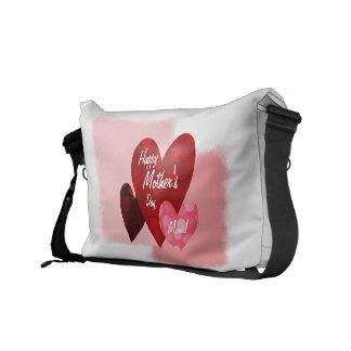 Happy Mother's Day Three Hearts Circles 1 Messenger Bag