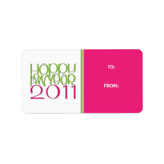 Happy New Year 2011 pink green Gift Tag Label Address Label
