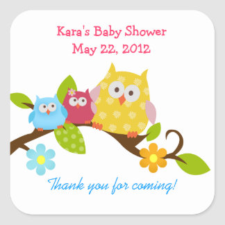 Happy Owls Boy and Girl Twin Shower Sticker