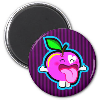 Happy pink apple magnet