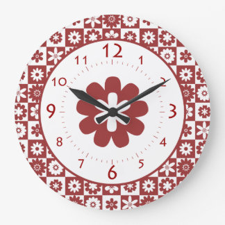 Happy Red and White American Country Farm Kitchen Clock