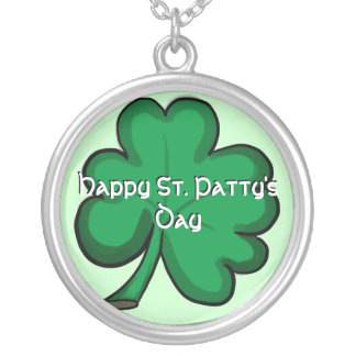 Happy St. Patty's Day shamrock necklace