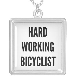 Hard Working Bicyclist Square Pendant Necklace