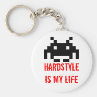 HARDSTYLE is my life - Invaders version Basic Round Button Key Ring