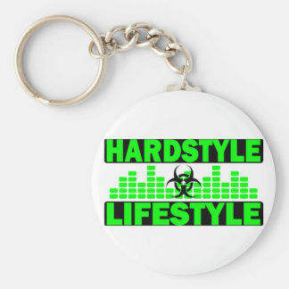 Hardstyle Lifestyle hazzard and tempo design Basic Round Button Key Ring
