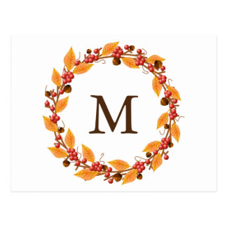 Harvest Wreath Monogram Custom Postcard