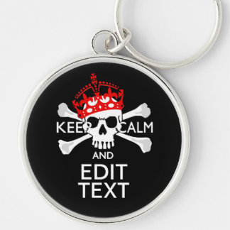 Have Your Text Keep Calm Crossbones Skull Silver-Colored Round Key Ring