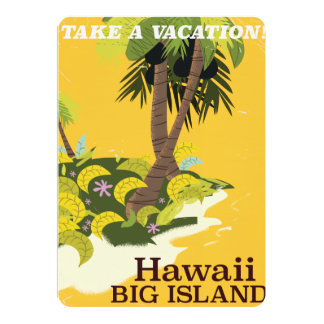 Hawaii big island vintage travel poster 13 cm x 18 cm invitation card