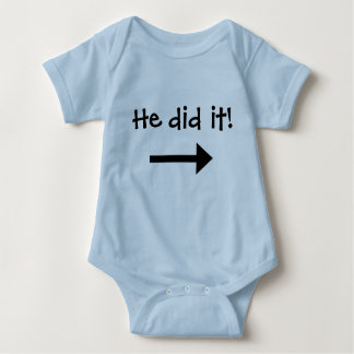 He did it! Boy left pointing arrow T Shirt