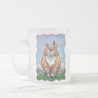 Heads and Tails Ginger Cat Frosted Glass Mug