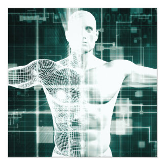 Healthcare Technology and Medical Scan of a Body 13 Cm X 13 Cm Square Invitation Card