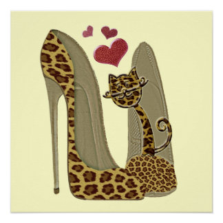 Heart Leopard Stiletto Shoes and Cat Art Poster