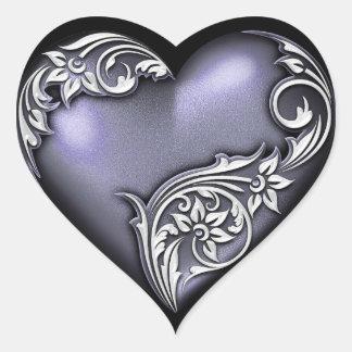 Heart Scroll Dark Violet Heart Sticker