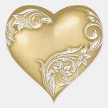 Heart Scroll Gold w White Heart Sticker