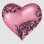 Heart Scroll Pink w Black Heart Sticker