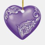 Heart Scroll Purple w White Ceramic Heart Decoration