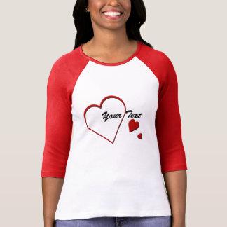 Heart Template Ladies 3/4 Sleeve Red Raglan Shirts