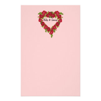 Heart Wreath Red Roses Stationery Paper