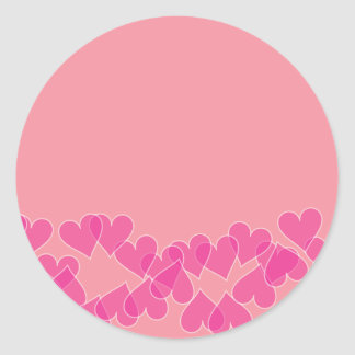 Hearts on Pink Stamps Round Sticker