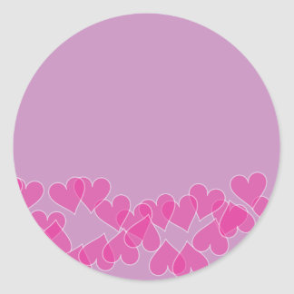 Hearts on Purple Stamps Round Sticker